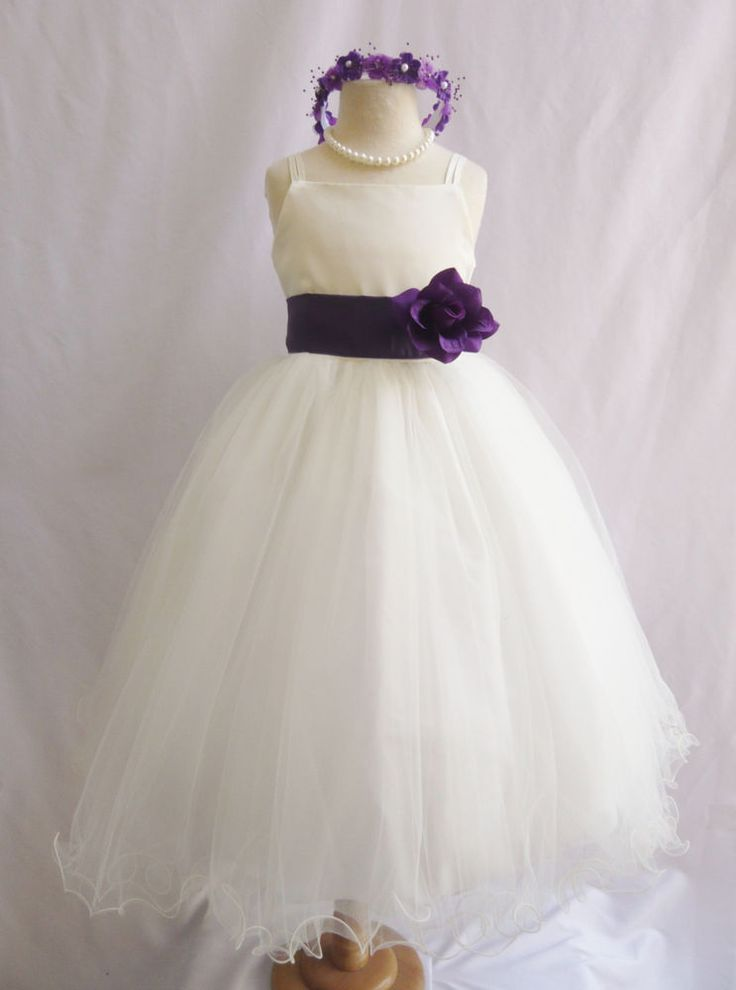 Ivory purple eggplant plum sage teal apple green wedding party flower girl dress #Curlybottomwihtspaghettistrap