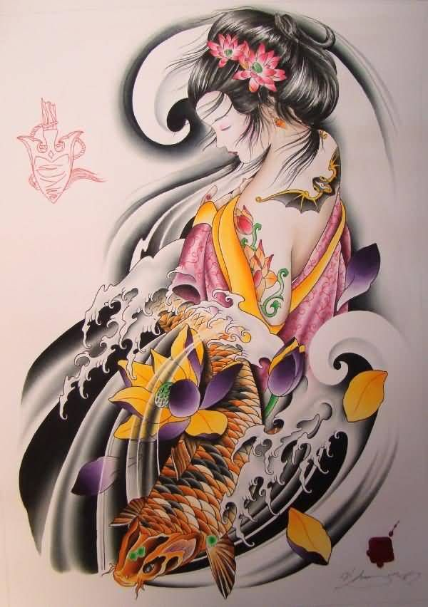 geisha mermaid tattoo - Google Search