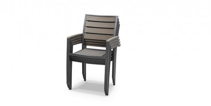 Table de jardin à rallonge extensible 205/260cm en bois composite, 8 fauteuils