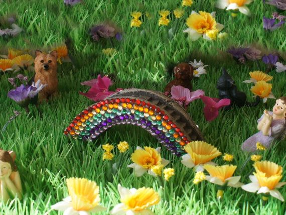 Rainbow Bridge - Sparkling with lots of Rhinestones - for Fairy Gardens or Departed Pets