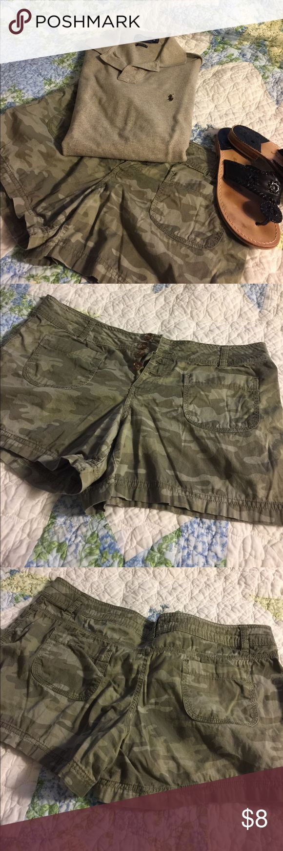 Camouflage Shorts Sz 15 Juniors Camouflage Shorts Sz 15 Juniors.  Great used condition. See last photo, shorts can be rolled and buttoned on the side. See all photos for size confirmation, care instructions, materials and measurements. Thanks for looking. I consider all reasonable offers. Don't forget to bundle and save. Shorts