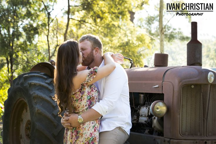 Kaylee and Jeff - love the old tractor - Ivan Christian Photography