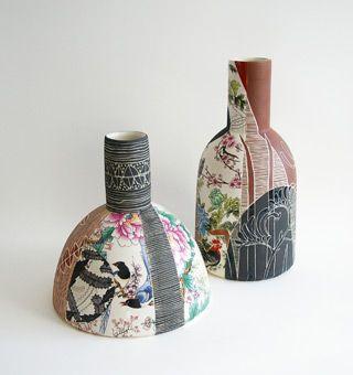 Janet Deboos | Thrown porcellaneous stoneware, black underglaze, Ernabella terra gigillata, sgraffito, clear glaze + decals