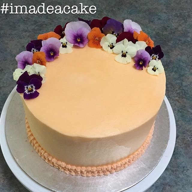Rosewater buttercream with real pansies. #imadeacake