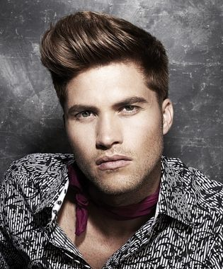 Short Brown Wavy Coloured Quiff Mens Hairstyles For Men