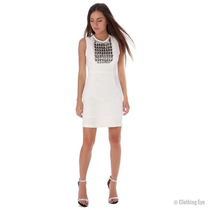 White mini dress with studded bib