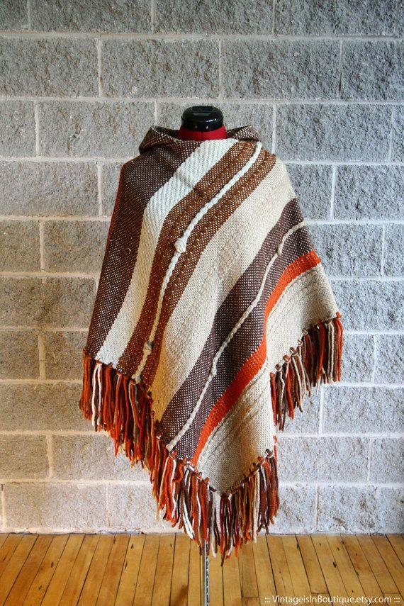Vtg 70s Handknit Brown, Orange & Eggshell Stripes Boho Hippie Poncho with hoodie/ Cape, Cloak/ One Size