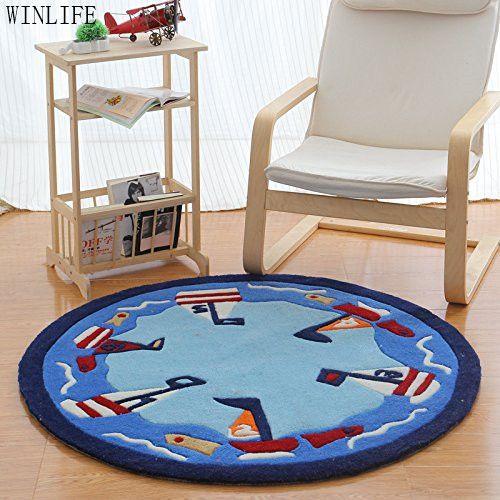 WINLIFE Cartoon Sailing Boat Round Carpet Brand Blue Round Kids Rug Circle  Rug