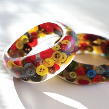 Buttons Bangle by Greca: Made of repurposed discarded buttons. #Bangle #Button