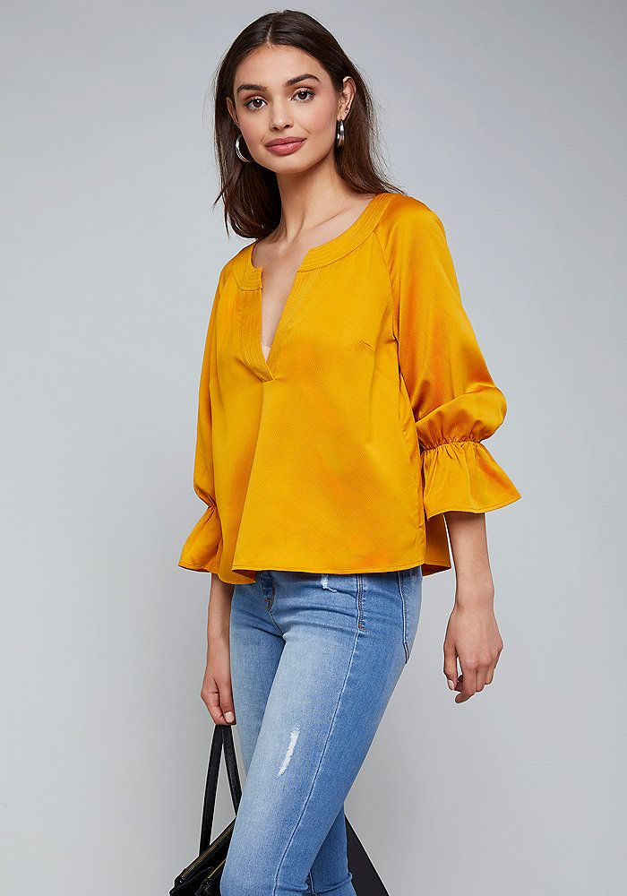 650772936ebeef bebe Satin Puff Sleeve Top