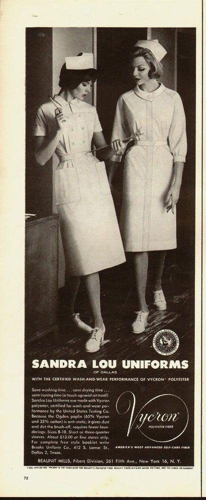 1961 vintage AD, Sandra Lou Classic White Nursing Uniforms, Vycron (030214)