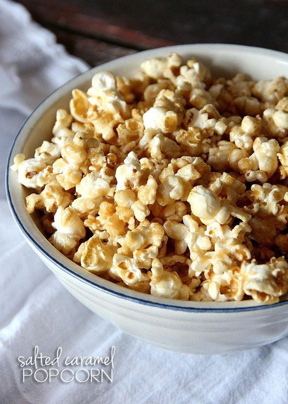 Salted Caramel Popcorn -- this recipe would be perfect for homemade Christmas gifts.