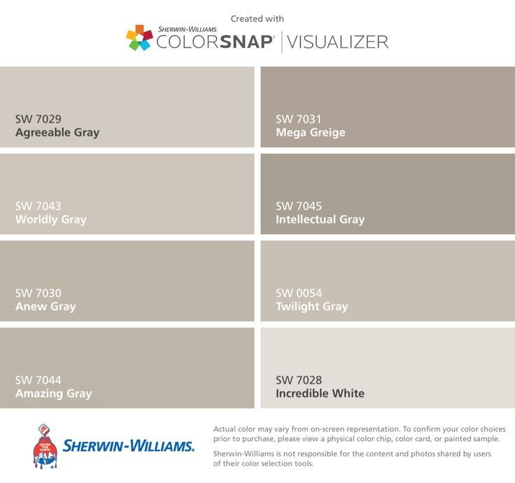 I can't decide which color I like best for the family / dining room . I found these colors with ColorSnap® Visualizer for iPhone by Sherwin-Williams: Agreeable Gray (SW 7029), Worldly Gray (SW 7043), Anew Gray (SW 7030), Amazing Gray (SW 7044), Mega Greige (SW 7031), Intellectual Gray (SW 7045), Twilight Gray (SW 0054), Incredible White (SW 7028), & not show ~ Shoji White (SW7042)