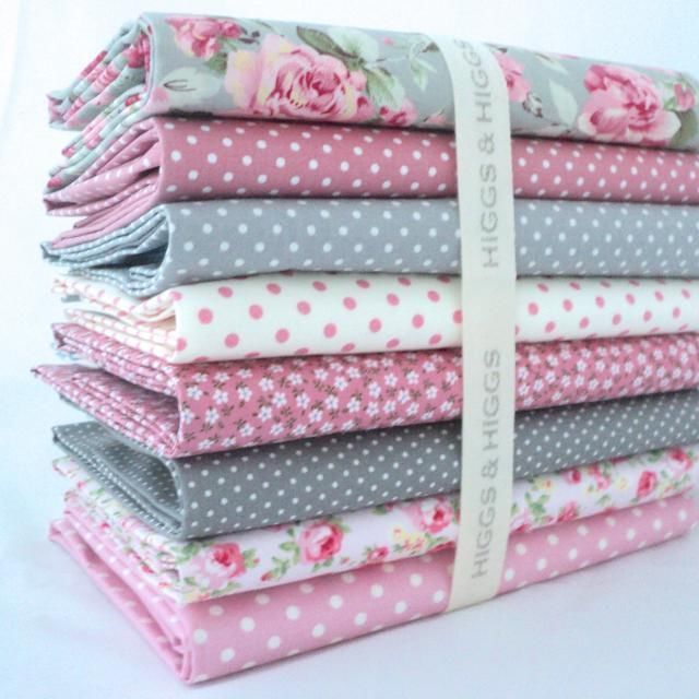 8 X FQ BUNDLE - ISABEL GREY & COORDINATING PINKS & GREYS  100% COTTON FABRIC