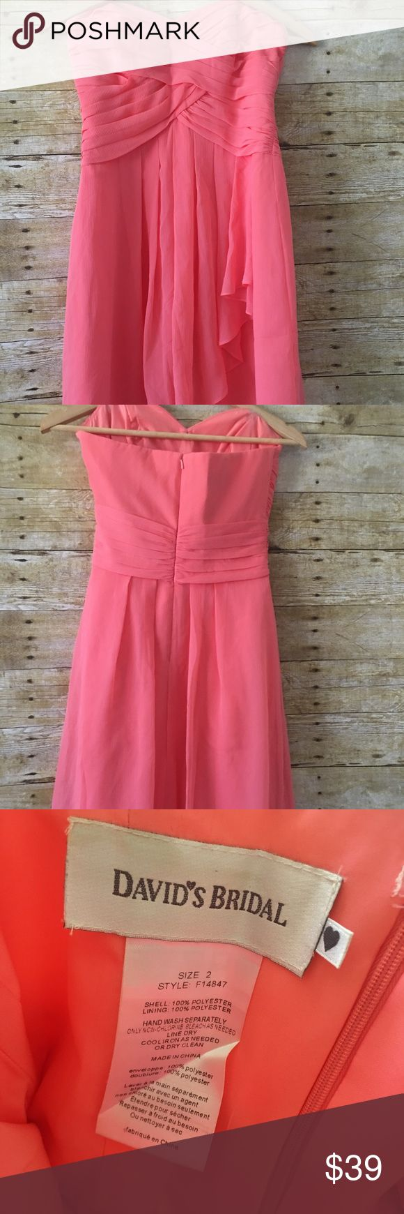 Bridesmaid dress from davids bridal. Coral bridesmaid dress worn once to a wedding. No rips,holes, or stains. David's Bridal Dresses Strapless