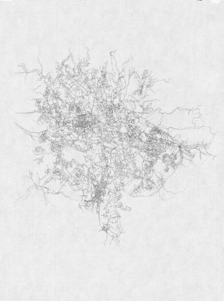 Kathy Prendergast, City Drawings Series (Addis Ababa), 1997, pencil on paper 31 x 21 cm