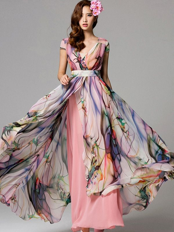 ea75dff7c Just Shop for Bohemian Printing V-Neck Short Sleeves Chiffon Long Dresses  from Jollyhers Online now: All Kinds of Designer Daily Dresses with Lowest  ...