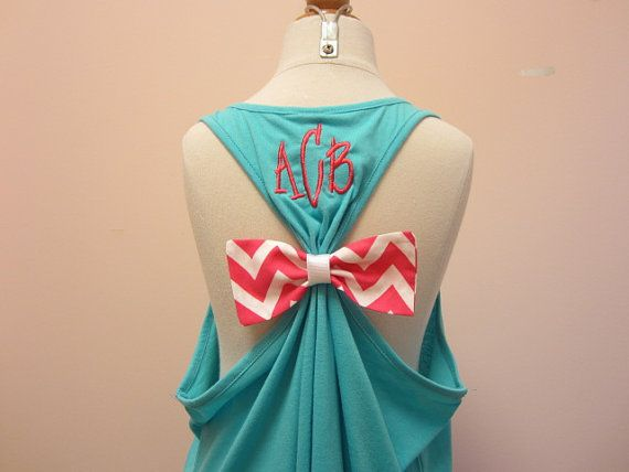 I WANT!!! Bow Tank Top with Monogram by SewMuchFunEmbroidery on Etsy, $28.00.....NEEEEEED