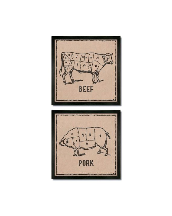 Beef / Pork - Butcher Cuts Set - Art Print Set - Butcher Diagram / Meat Cuts / Kitchen Decor / kitchen wall art / kitchen wall decor -Chef