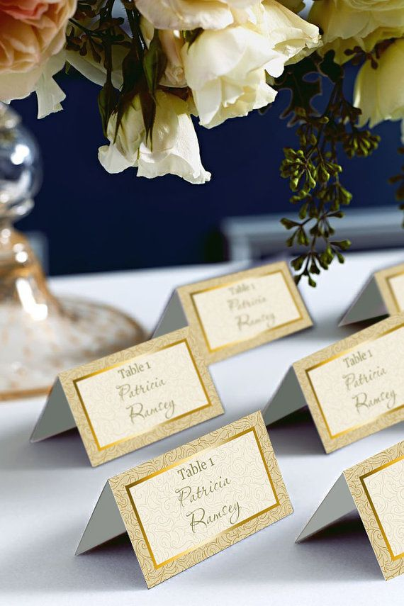 Gold Wedding Place Cards.  This listing is for the DIGITAL, printable hi-res files, no physical items will be shipped. Instantly download from Etsy as soon as purchased.  HOW IT WORKS: Buy, Download and Save template to your computer. Change your wording, fonts & font color (images or image color cannot be changed on your end). Print on card stock and cut to size on the guide lines. Done! ♥------------------------------------------------------------------------------ FORMAT: Microsoft Wor...
