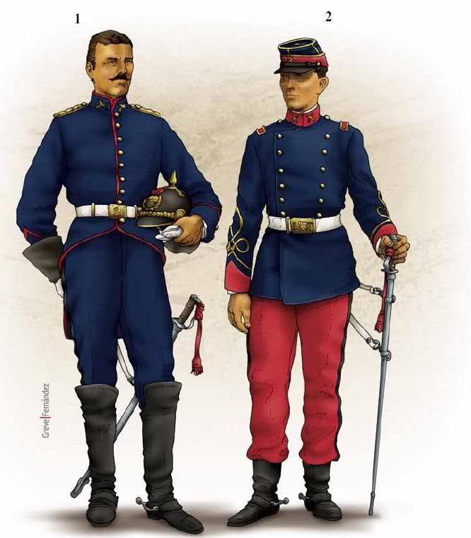 Ambas imágenes pertenecen al Lanceros de Torata. La de la izquierda es de 1872, con una clara influencia prusiana (nótese el casco). La de la derecha es de 1879, cuando los oficiales peruanos habían conseguido permiso para seguir usando uniformes franceses.