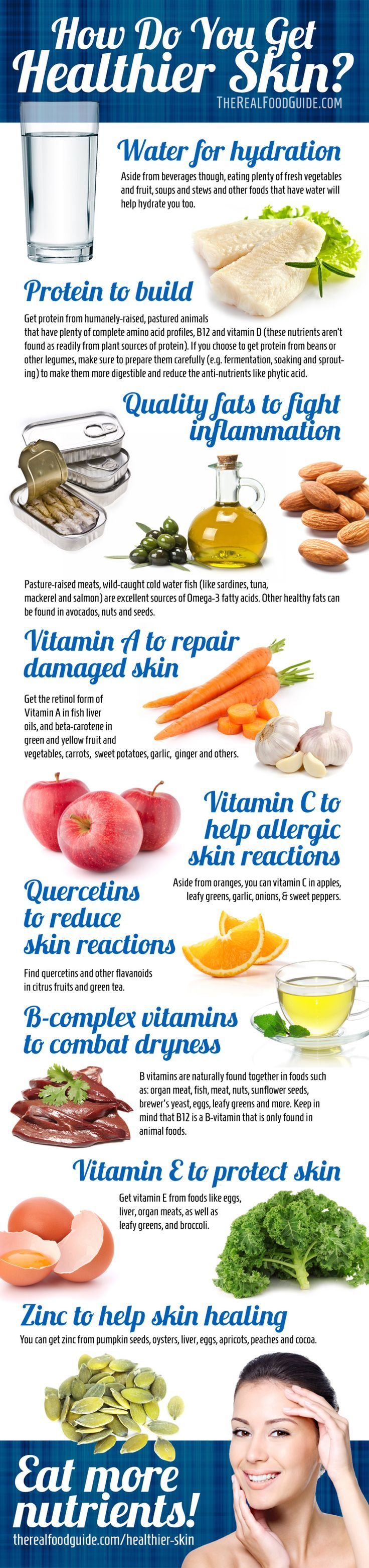 How to get clear skin: vitamins for healthy skin - The Real Food Guide therealfoodguide.com #infographic #health #skin