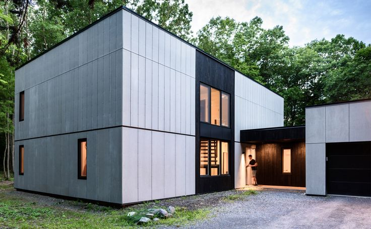 Brooklyn studio AlexAllen has revamped a home in New York State, trading its plywood siding for cement panels and blackened timber