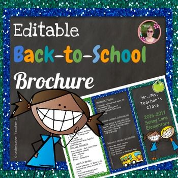 Need an easy way to tell your students' parents all the information they need to know? This Editable Back to School and Open House Brochure with fun graphics and blue green glitter borders is perfect to communicate with your students' parents!This Editable Back to School Brochure contains:*A 2 page brochure in Powerpoint, just click on the text boxes to edit your titles and information. (Please, note pictures are not editable or moveable, they are frozen into the background due to copyright…