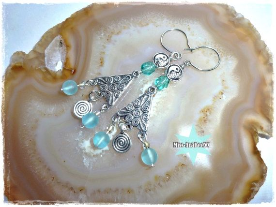 Tribal Ohrringe/Ohrhänger mit Yin Yang Spiralen von MissAraBeeXX