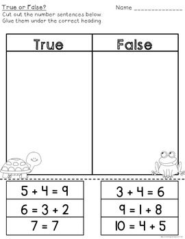 FREE--true or false addition practice. Great for math stations!