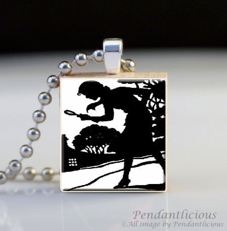Scrabble Tile Pendant - Black and White Nancy Drews Silhouette. Super cute as gifts to Zoe's friends...