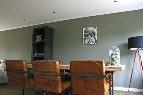 Interieurontwerp eetkamer by Flow Design   Puur natuur   Groen   Koper   Cognac   www.flow-design.nl