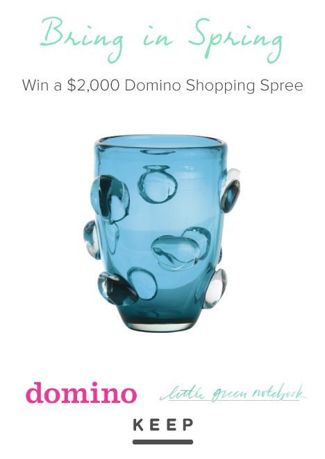 Make your spring decor dreams a reality with a $2000 Domino shopping spree from Keep, Little Green Notebook, Conde Nast Collection and Domino. Enter for a chance to win.