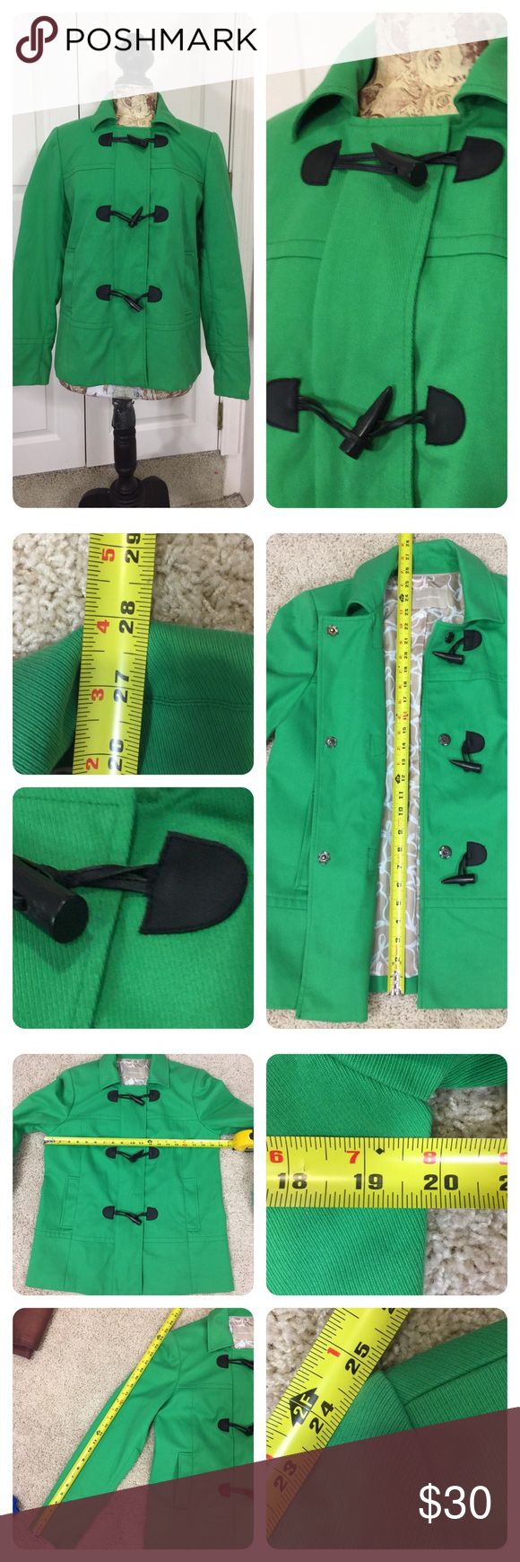 Banana Republic coat with toggle buttons Add some color to your closet with this classic cut green coat from Banana Republic!  Fun toggle buttons. Pretty tan and white lining. No size or material tag. Guessing a Medium ( check measurements) and cotton blend. Great layering piece!  No flaws noted. Banana Republic Jackets & Coats