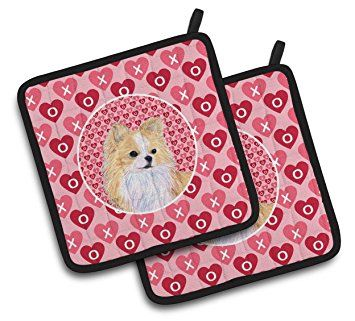 """Custom & Durable {7.5"""" X 7.5"""" Inch Each} 2 Set Pack Mid Size """"Non-Slip"""" Pot Holders Made of Cotton for Carrying Hot Dishes w/ Painted Treasure Chihuahua Hearts Style [Pink, White, & Black]"""