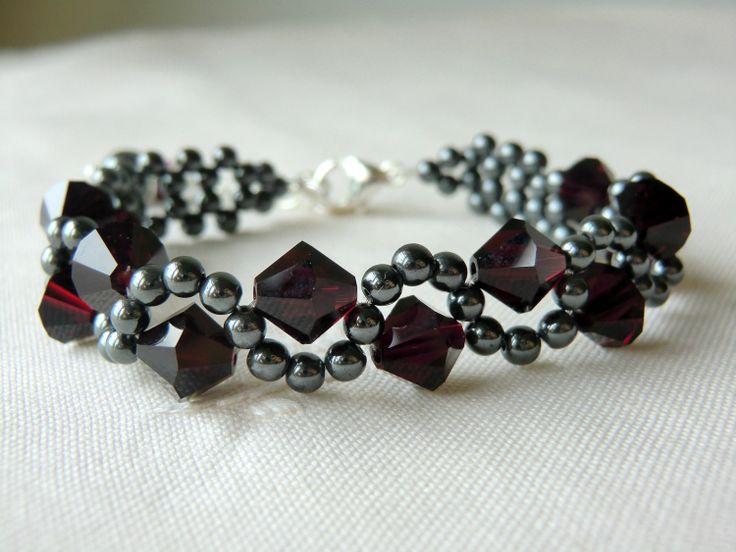 Swarovski Crystal Bracelet, Hematite Beaded Bracelet with Hematite Round Beads and Swarovski Crystals, Color - Garnet - B-SS007