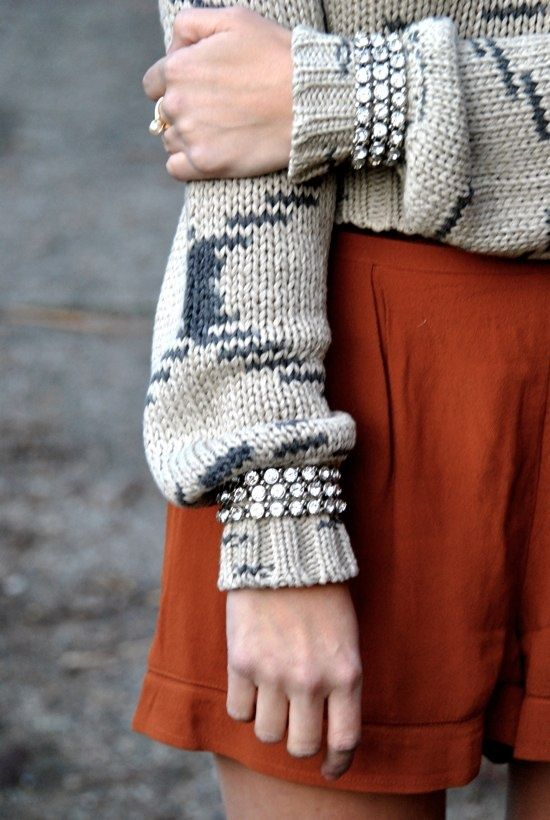 Oversized knit with silky shorts and wrist adornment
