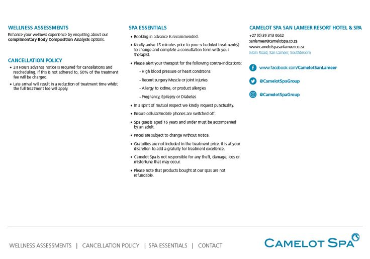 This pricelist has everything you need to enjoy pure relaxation at the Camelot Spa San Lameer. #SanLameer