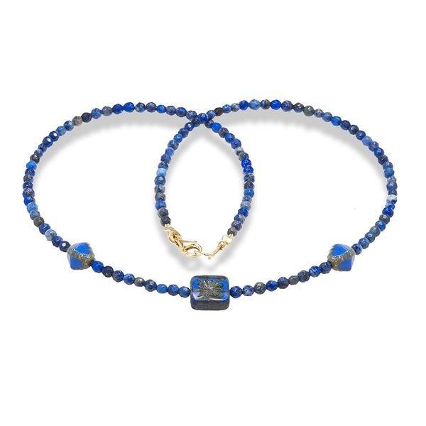 Handmade Gemstone Necklace Lapis Lazuli - Anthos Crafts - 1