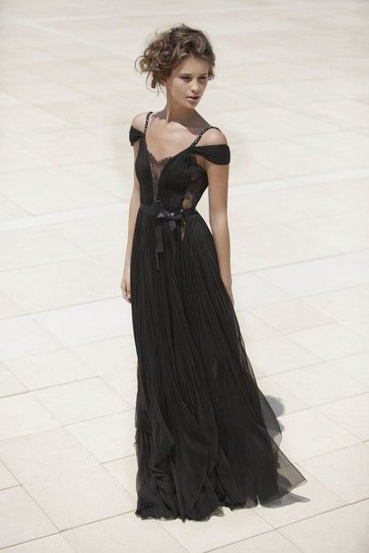 Smoky grey and black prom dresses