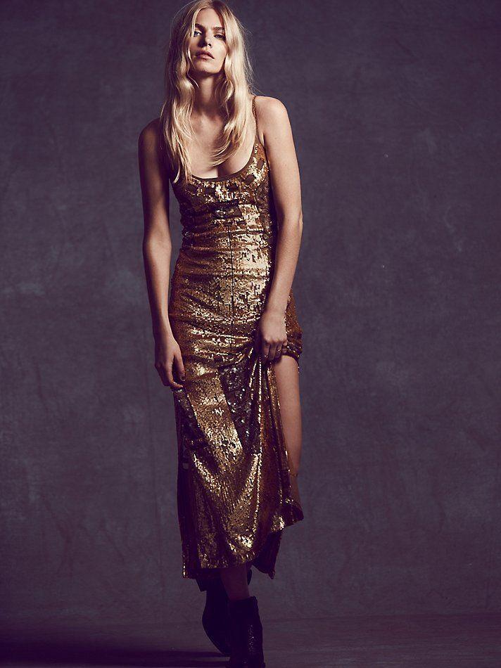 NWT FREE PEOPLE MILLION DOLLAR SEQUIN GOLD MAXI DRESS L LARGE $600