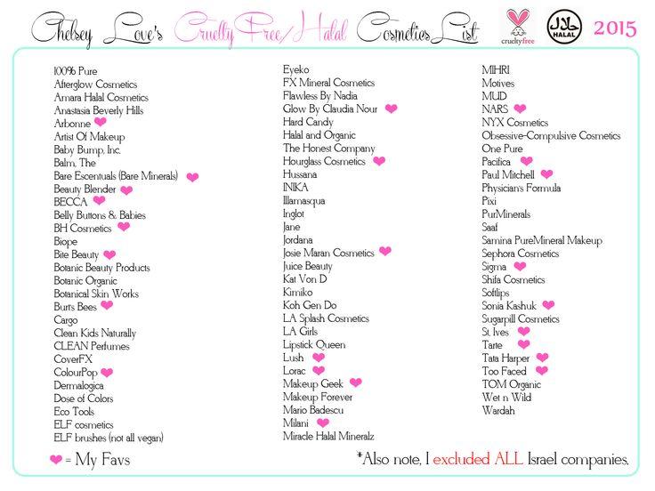 Chelsey Hijab Love's Cruelty Free and Halal Cosmetics List #crueltyfree #halal #makeup #boycottisrael #halalmakeup #muslimah