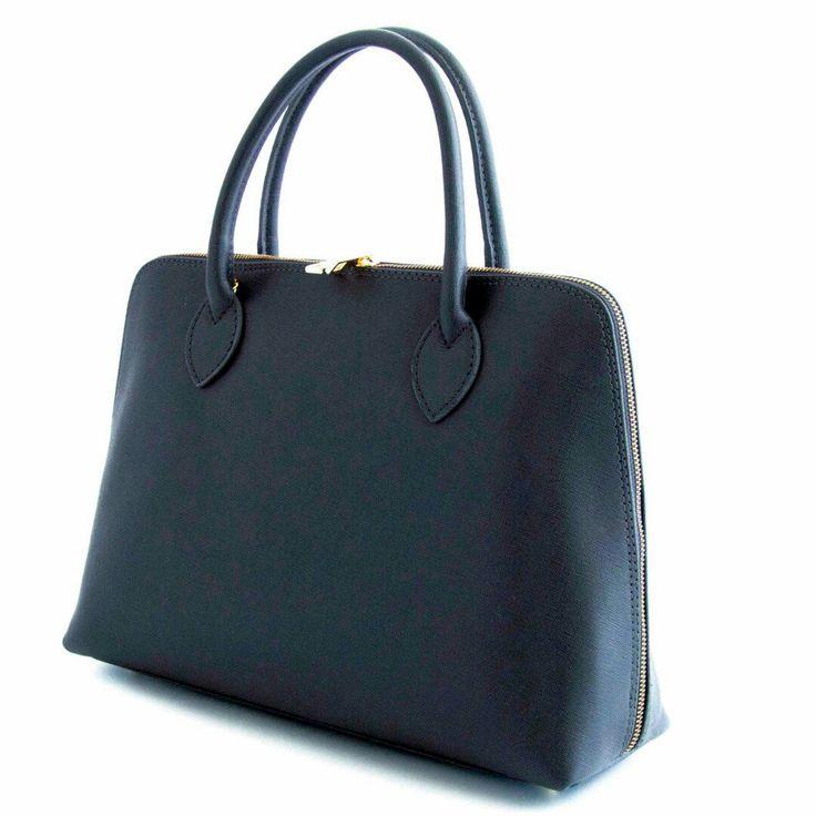 leather handbag navy blue a classical elegant bag