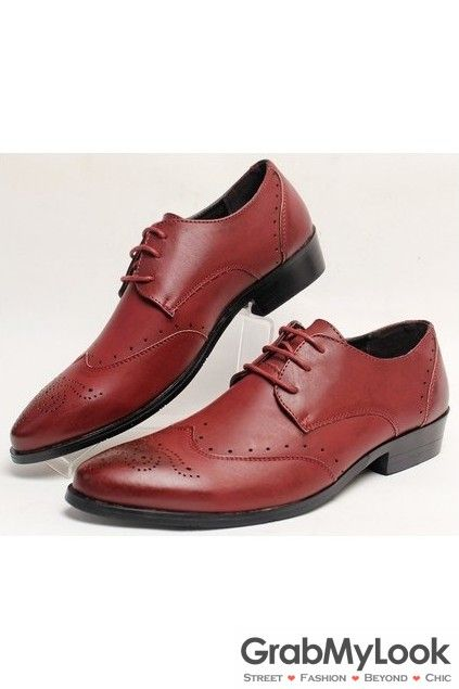 GrabMyLook Vintage Color brown Leather Point Head Lace Up Oxford Mens Shoes Loafers