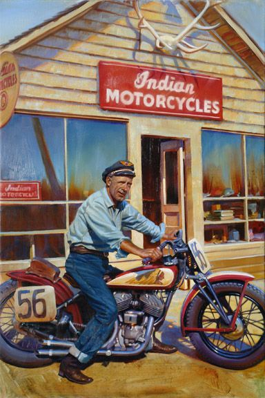 Pappy....David Uhl has recreated another iconic moment in the motorcycle history on his canvas, J.C. Pappy Hoel on this beloved Indian motorcycle in front of his Sturgis dealership. Pappy's life passion was motorcycling. He was a motorcycle dealer and race promoter, and is considered to be the founder of the Black Hills Classic Rally held annually in Sturgis, South Dakota. On August 14, 1938, Pappy along with his wife Pearl, and other members of the Jackpine Gypsies Motorcycle Club