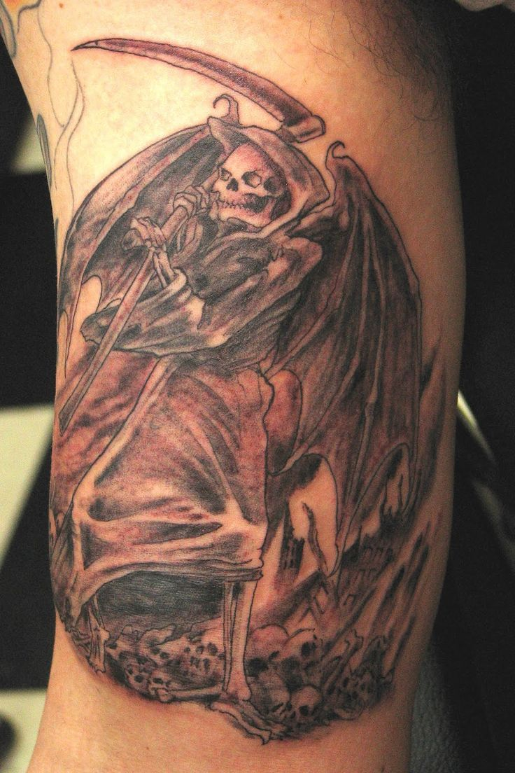 Warrior Angel Tattoos | arm tattoo: Grim Reaper / Angel of Death portrayed as a hideous ...