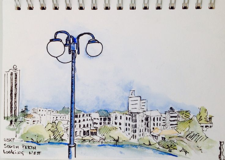 Morning sketching with Perth Urban Sketchers in South Perth.  Looking West