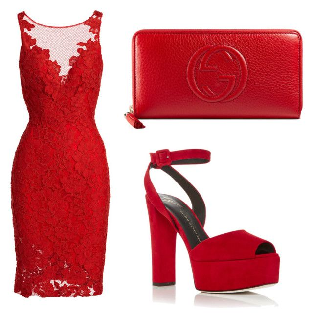 """148"" by lori1207 ❤ liked on Polyvore featuring ML Monique Lhuillier, Gucci and Giuseppe Zanotti"