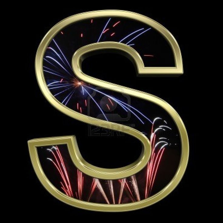 fireworks alphabet One letter from firework with gold