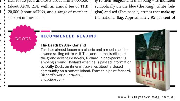 """""""The Beach"""" by Alex Garland...""""this has almost become a classic and a must read for anyone setting off to visit Thailand. In the tradition of the grand adventure novels...."""" Photo via www.luxurytravelmag.com and more detail on this novel set in Thailand here: http://www.tripfiction.com/books/the-beach/"""